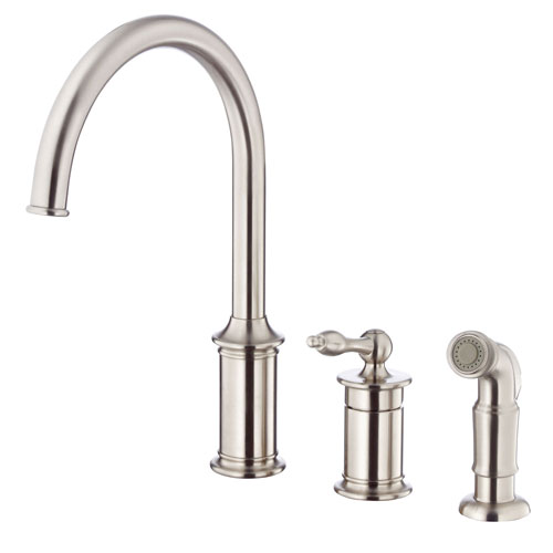 Danze Prince Stainless Steel Single Handle Widespread Kitchen Faucet with Spray
