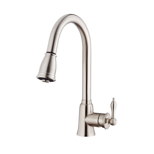 Danze Prince Stainless Steel Single Handle Hi-Arch Pull-Out Spray Kitchen Faucet