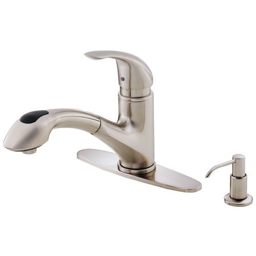 Danze Melrose Modern Stainless Steel Pull-Out Kitchen Faucet with Soap Dispenser