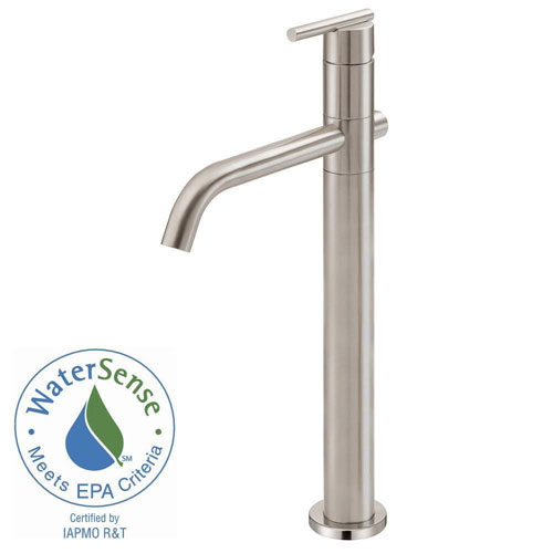 Danze Parma Single-Hole Single-Handle Mid-Arc Bathroom Vessel Faucet in Brushed Nickel 553648