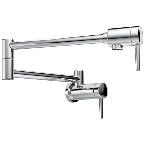 Delta Chrome Finish Contemporary Modern Style Wall Mounted 4 GPM High-Flow Double Articulated Pot Filler Faucet 732774
