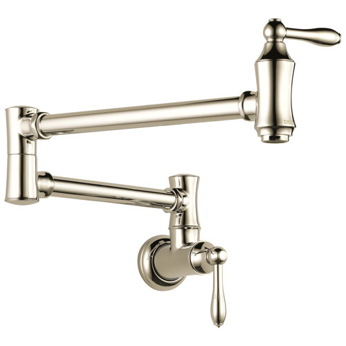 Delta Cassidy Collection Polished Nickel Finish Traditional 4 GPM High-Flow Double Jointed Swing Spout Wall Mount Pot Filler Faucet 751595