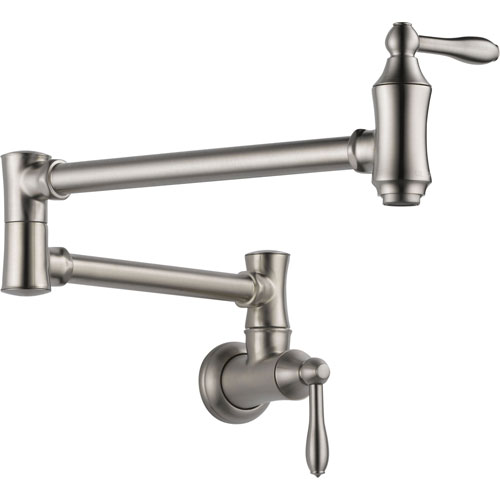 Delta Traditional Kitchen Wall Mounted Pot filler Faucet in Stainless 535204