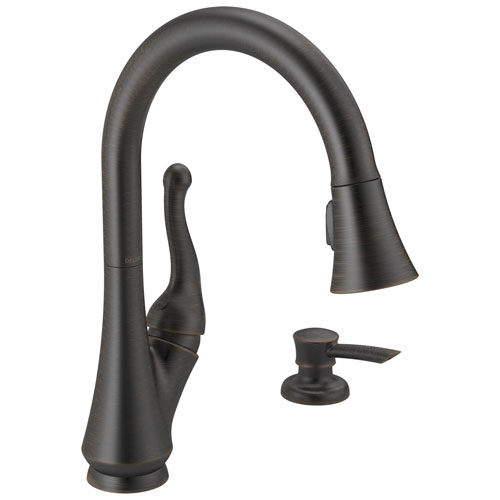 Delta Talbott Collection Venetian Bronze Finish Single Handle 2-Hole Pull-Down Spray Kitchen Sink Faucet with Soap Dispenser D16968RBSDDST