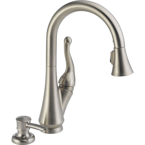 Delta 1 Handle Pull-Down Kitchen Faucet w/Soap Dispenser in Stainless 571015
