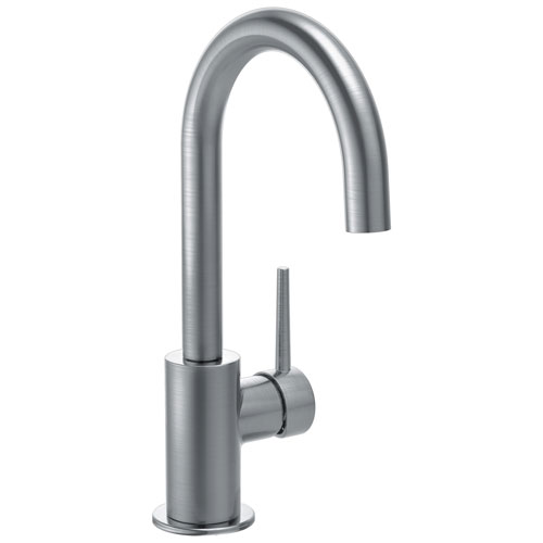 Delta Trinsic Collection Arctic Stainless Steel Finish Single Lever Handle 360-degree Swivel Spout Modern Bar Sink Faucet 729159