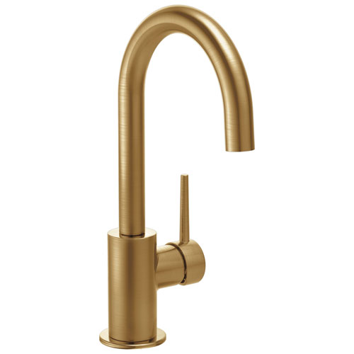 Delta Trinsic Collection Champagne Bronze Finish Single Lever Handle 360-degree Swivel Spout Modern Bar Sink Faucet 729156