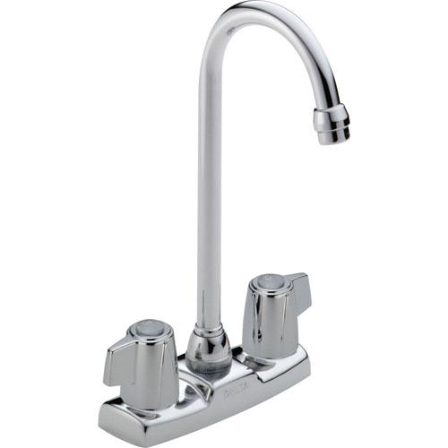 Delta Gooseneck Spout Two Handle Chrome Bar / Prep Sink Faucet 555810