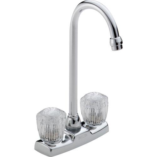 Delta Gooseneck Spout Two Handle Knob Chrome Bar / Prep Sink Faucet 555811