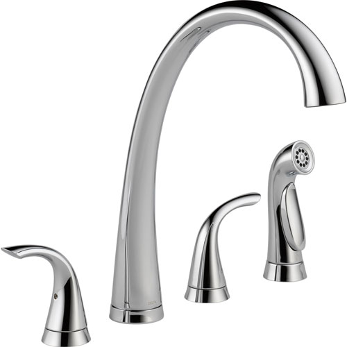 Delta Chrome High Arch Spout Widespread Kitchen Sink Faucet with Spray 555818