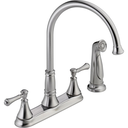 Delta Cassidy Gooseneck Arctic Stainless Kitchen Faucet with Side Sprayer 579503
