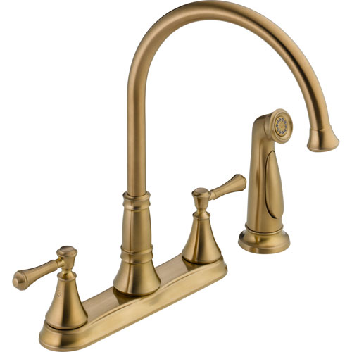 Delta Cassidy Gooseneck Champagne Bronze Kitchen Faucet with Side Sprayer 579504