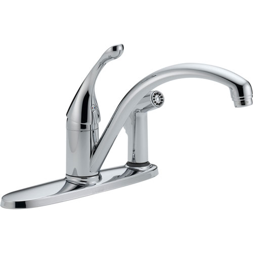 Delta Collins Water Efficient 1 Handle Chrome Kitchen Faucet with Sprayer 465283