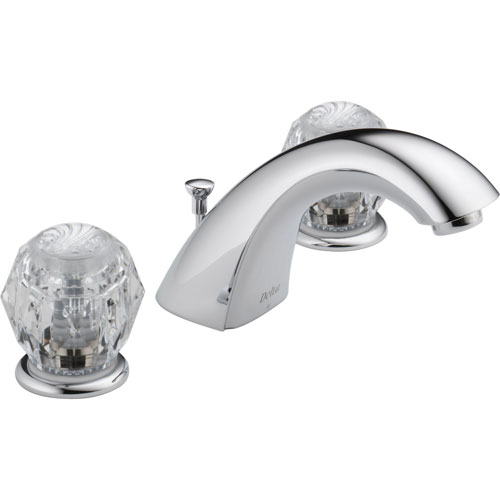 Delta Two Handle Clear Knob Chrome Widespread Lavatory Sink Faucet 474209