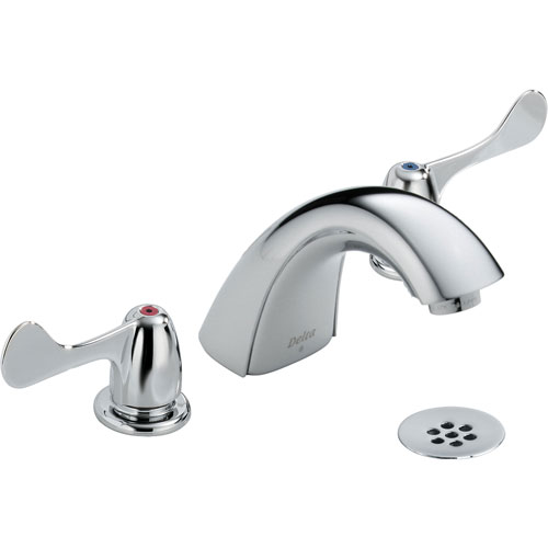 Delta Commercial Chrome Widespread Bathroom Faucet with Grid Strainer 614918