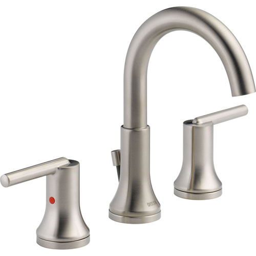 Delta Trinsic Modern Stainless Finish Widespread High Arc Bathroom Faucet 614923