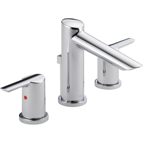 Delta Compel Modern Chrome Finish Widespread High Arc Bathroom Faucet 584023