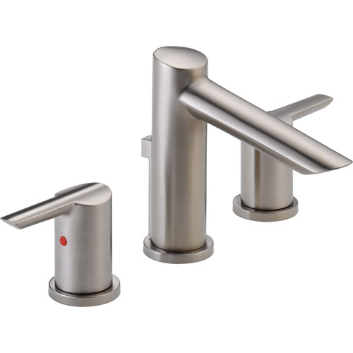 Delta Compel Modern Stainless Finish Widespread High Arc Bathroom Faucet 584024
