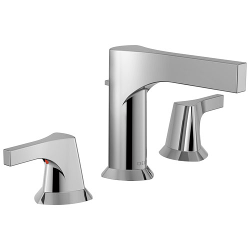 Delta Zura Collection Chrome Finish Modern Two Lever Handle Widespread Bathroom Sink Faucet with Drain 743900