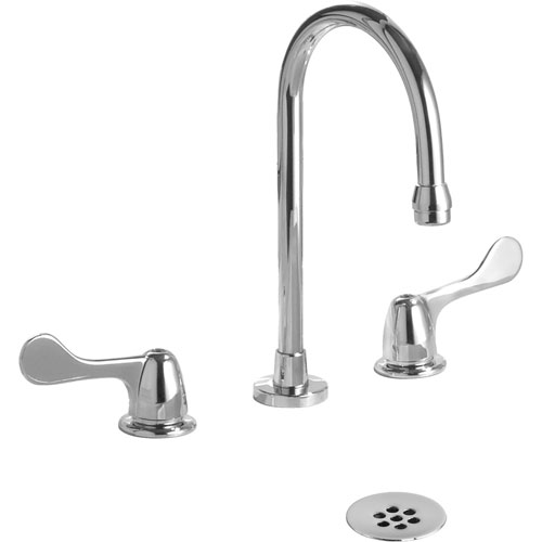 Delta Commercial Widespread Chrome Bathroom Faucet with Grid Strainer 614924