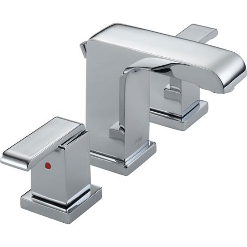 Delta Arzo Modern Square Chrome Finish Widespread Bathroom Faucet 474206