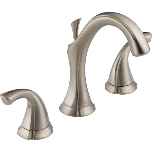 Delta Addison High Arc Stainless Finish Widespread Bathroom Sink Faucet 474203