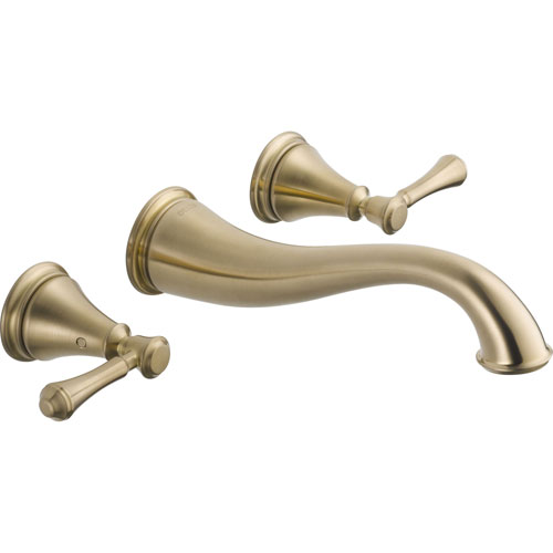 Delta Cassidy 2-Handle Champagne Bronze Wall Mount Bathroom Sink Faucet 579515