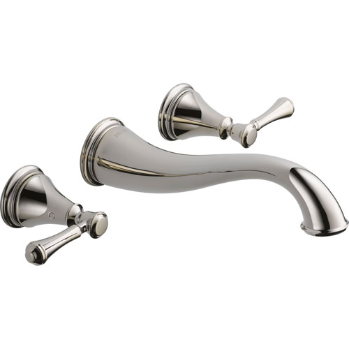 Delta Cassidy 2-Handle Polished Nickel Wall Mount Bathroom Sink Faucet 579519