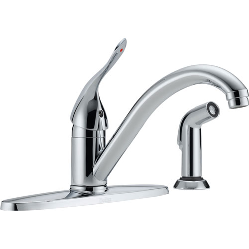 Delta Classic Chrome Single Handle Kitchen Sink Faucet with Side Sprayer 586340