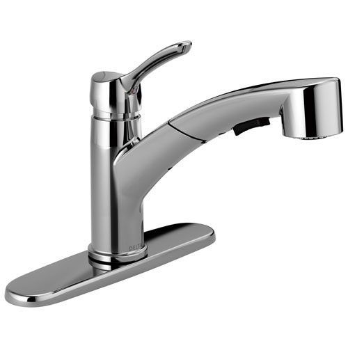 Delta Collins Collection Chrome Finish Modern Single Lever Handle Pull-Out Kitchen Sink Faucet D4140DST