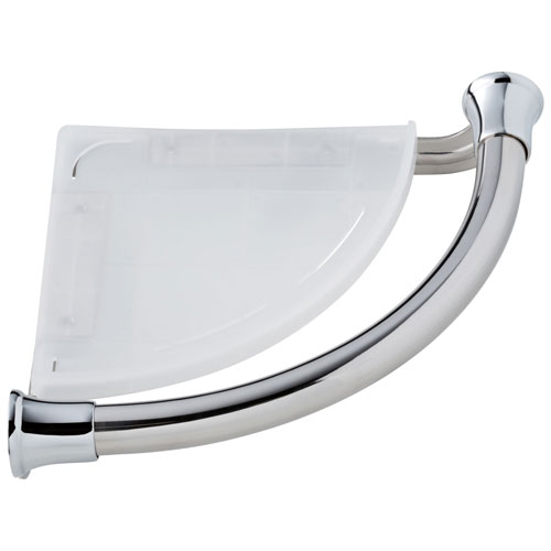 Delta Bath Safety Collection Chrome Finish Transitional Style Bathroom Shower Corner Shelf with Assist Grab Bar D41416