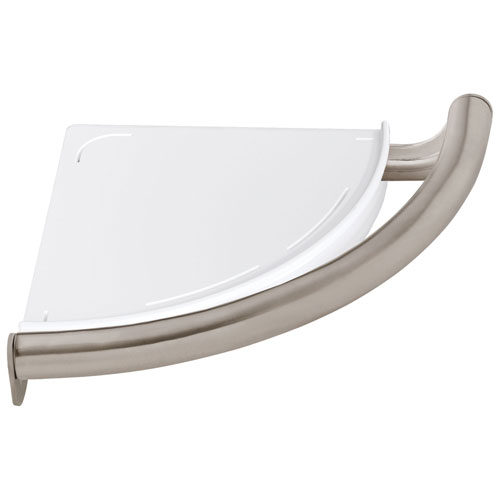 Delta Bath Safety Collection Stainless Steel Finish Contemporary Shower Corner Bathroom Shelf with Assist Grab Bar D41516SS