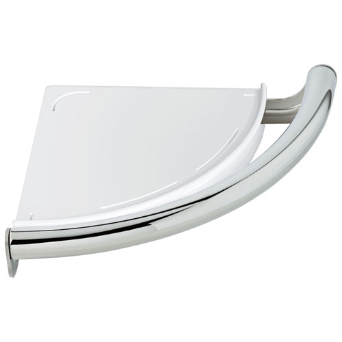 Delta Bath Safety Collection Chrome Finish Contemporary Corner Shower Shelf with Assist Grab Bar D41516
