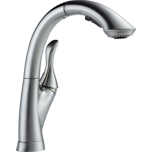Delta Linden Arctic Stainless Single Handle Pull-Out Spray Kitchen Faucet 610443