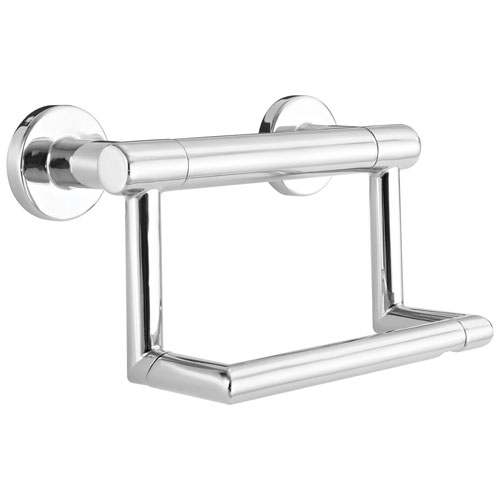 Delta Bath Safety Collection Chrome Finish Contemporary Toilet Tissue Paper Holder with Assist Grab Bar D41550