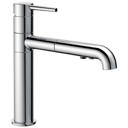 Delta Trinsic Collection Chrome Finish Modern Single Handle Pull-Out Kitchen Sink Faucet 714323