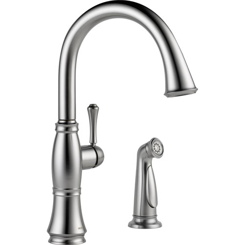 Delta Cassidy Gooseneck Arctic Stainless Kitchen Faucet w/ Side Sprayer 612372