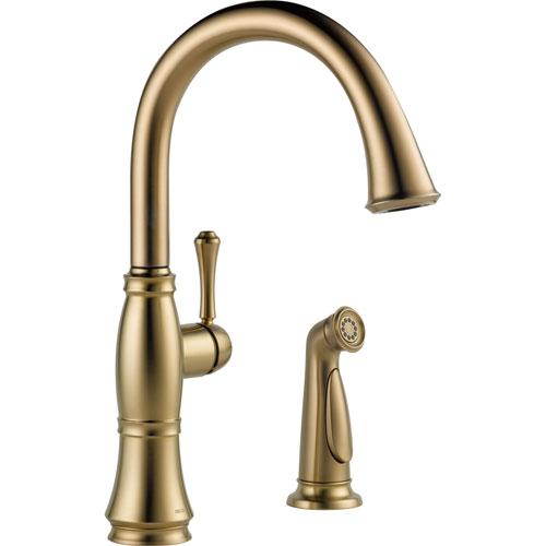 Delta Cassidy Gooseneck Champagne Bronze Kitchen Faucet w/ Side Sprayer 612374