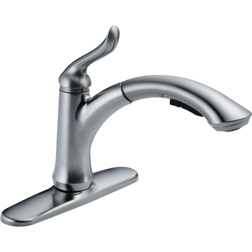 Delta Linden Arctic Stainless Single Handle Pull-Out Spray Kitchen Faucet 610446
