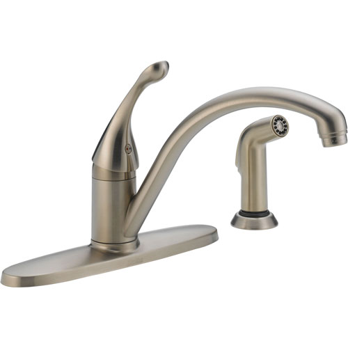Delta Collins Single Handle Stainless Finish Kitchen Faucet w/ Side Spray 465290