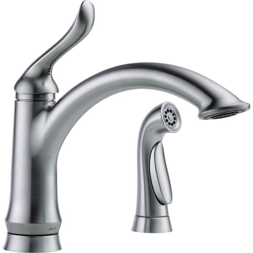 Delta Linden Arctic Stainless Single Handle Kitchen Faucet with Sprayer 610450
