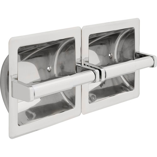 Delta Bright Stainless Steel Recessed Twin Horizontal Toilet Paper Holder 572959