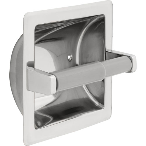 Delta Recessed Toilet Paper Holder with Roller in Bright Stainless Steel 572960