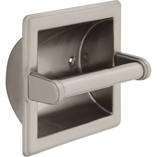 Delta Recessed Toilet Paper Holder with Roller in Satin Nickel 572962
