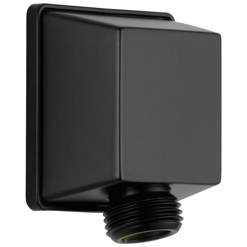 Delta Universal Showering Components Collection Matte Black Finish Square Wall Supply Drop Elbow for Hand Shower D50570BL