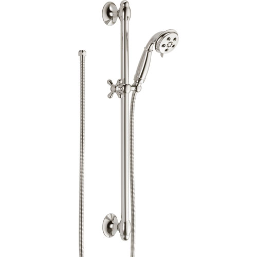 Delta H2Okinetic 3-Spray Polished Nickel Handshower with Slide Bar 604242