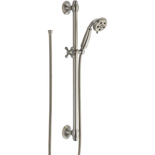 Delta H2Okinetic 3-Spray Stainless Steel Finish Handshower with Slide Bar 604239