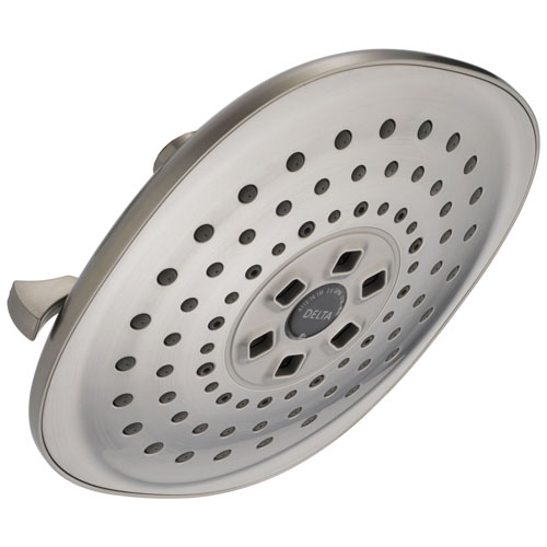 Delta Universal Showering Components Collection Stainless Steel Finish H2Okinetic 3-Setting Raincan Shower Head D52686SS