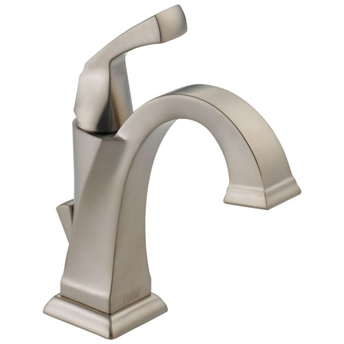 Delta Dryden Collection Stainless Steel Finish Single Handle 1 or 3 hole installation Bathroom Sink Lavatory Faucet with Drain D551SPDST
