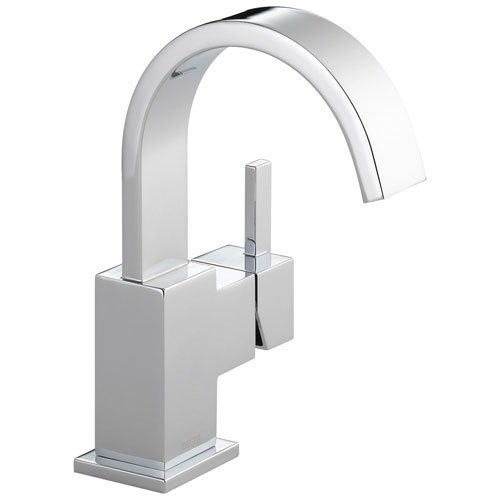 Delta Vero Collection Chrome Finish Single Handle 1 or 3 hole Installation Centerset Lavatory Bathroom Sink Faucet with Drain D553LFGPM